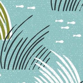 Sea Grass Eel Grass Wild Grass Teal Large Scale