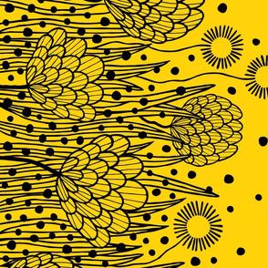 Flower border print blue yellow