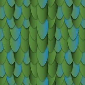 Feather Scales gradient blue green small scale