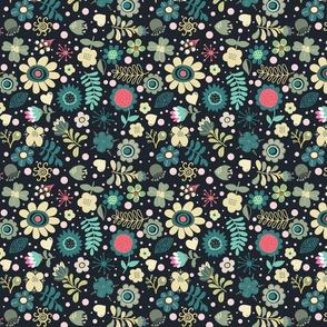 Folks Flowers over black - version 1