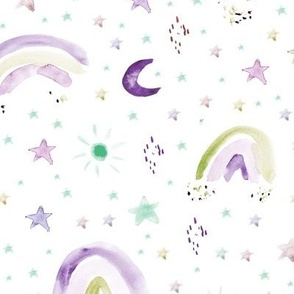 Watercolor rainbows - stars - moons - p232