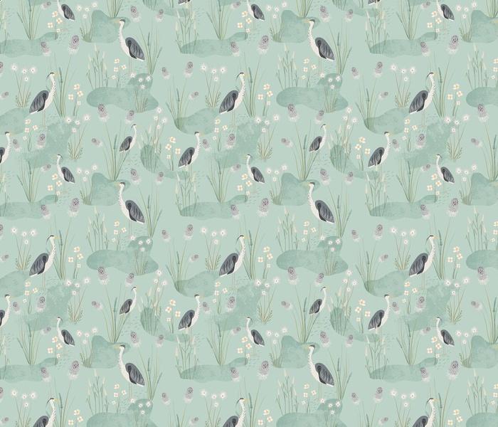 wild grass and grey herons