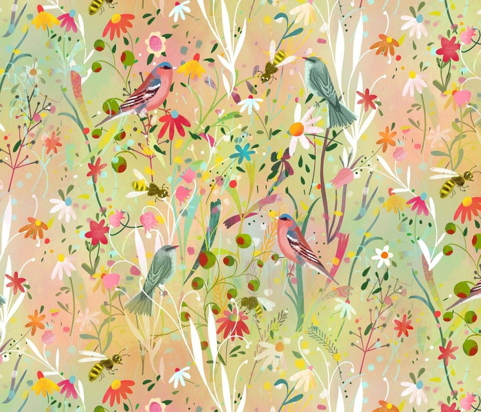 pastel meadow busy bees +birds // large scale