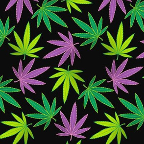 ★ SPINNING WEED ★ Green + Purple on Black - Large Scale/ Collection : Cannabis Factory 1 – Marijuana, Ganja, Pot, Hemp and other weeds prints