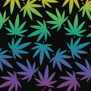 ★ SPINNING WEED ★ Rainbow on Black - Large Scale/ Collection : Cannabis Factory 1 – Marijuana, Ganja, Pot, Hemp and other weeds prints