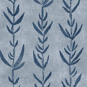 Bamboo Shoots in Indigo Blue (xl scale)   Block printed leaves pattern on gray linen texture, bamboo fabric, plant fabric, botanical print.