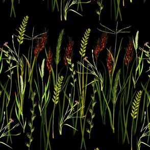 Vintage botanicals wild grasses rows black large scale