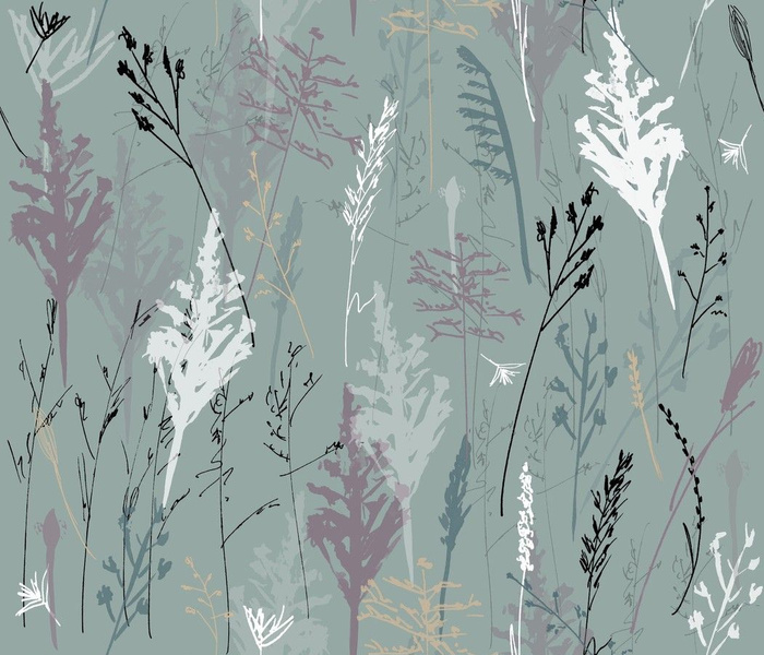Wild Grasses - hand drawn - teal