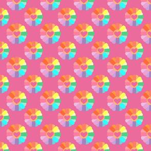 Rainbow Flowers on Pink