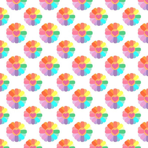 Rainbow Flowers on white