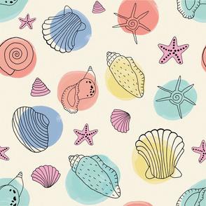 Seashells modern watercolor handrawn