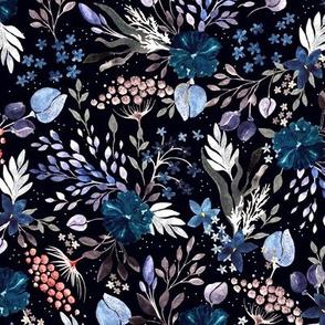 Wild Grasses, dark blue flowers, fragile blades of grass on a black background