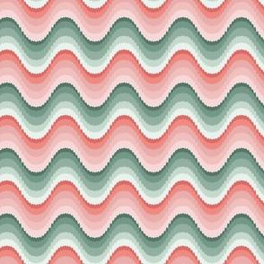 Bargello waves pink green large