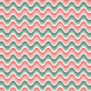 Bargello waves pink green small