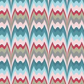 Bargello curved flame stitch blue pink large