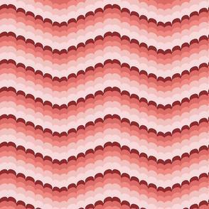 Bargello scallop waves coral large
