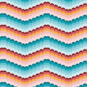 Bargello scallop waves turquoise coral large