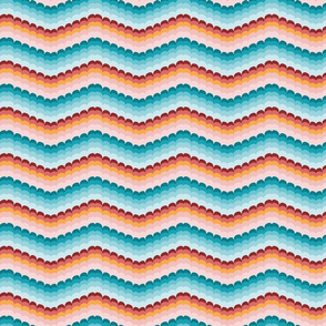 Bargello scallop waves turquoise coral small