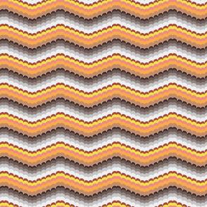 Bargello scallop waves brown orange small