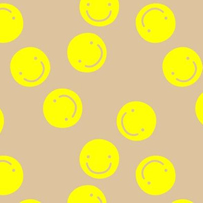 Pop art smiley design bright spring colored chat icon bright yellow beige sand