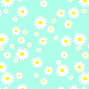 The minimalist neon Summer day daisies pop art Scandinavian boho style nursery mint green white yellow
