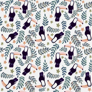 Toucans Pattern - Retro Orange