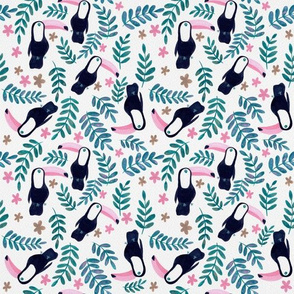 Toucans Pattern - Pink and Teal