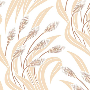 Waving Wheat Fields - Neo Art Deco - white -extra large scale
