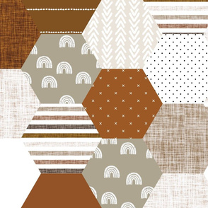 "6"" hexagon wholecloth: rust, copper, sugar sand, camel"