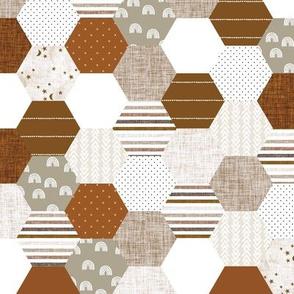 hexies: rust, copper, sugar sand, camel