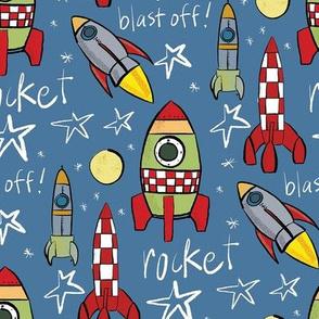 Rockets on blue