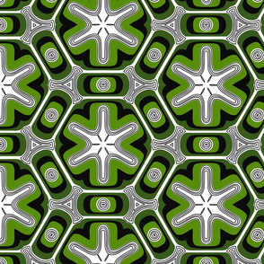 Psychedelic propeller floral - green