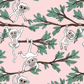 Curious little monkey friends in trees wild animals jungle safari design for kids blush pink green white