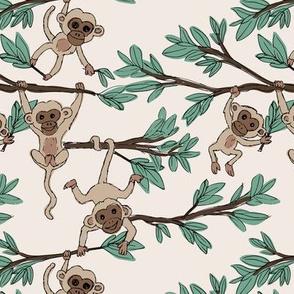 Curious little monkey friends in trees wild animals jungle safari design for kids ivory beige green neutral