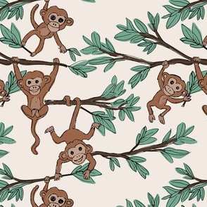 Curious little monkey friends in trees wild animals jungle safari design for kids ivory brown green neutral