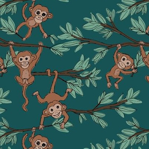 Curious little monkey friends in trees wild animals jungle safari design for kids forest green brown sage