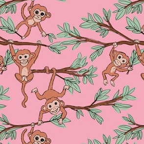 Curious little monkey friends in trees wild animals jungle safari design for kids forest pink sage green terracotta
