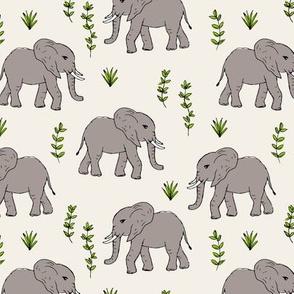 Curious little baby boho elephant african wild life animals kids nursery design ivory gray green