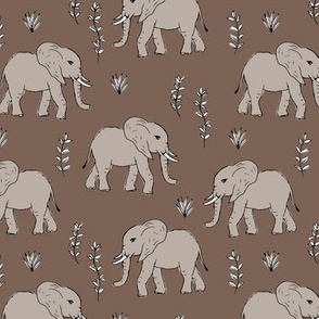 Curious little baby boho elephant african wild life animals kids nursery design muddy brown gray neutral