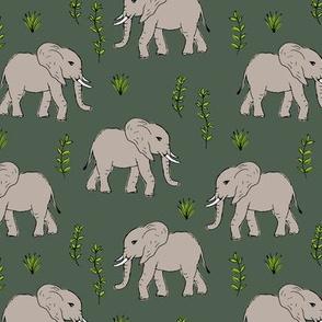 Curious little baby boho elephant african wild life animals kids nursery design beige olive green