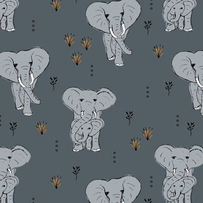 Curious boho elephant family african wild life animals kids nursery design stone blue gray
