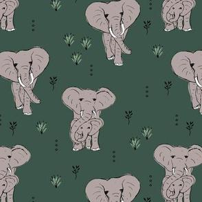 Curious boho elephant family african wild life animals kids nursery design olive green gray