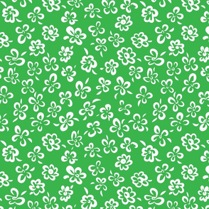 Simple Floral Scatter White on Green