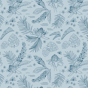 Lg. Island Flora Sketch on Air Blue, Large Scale 12.44in x 12in (lines in Island Dusk) (tropical, jungle, island, beach, Hawaii, floral, flowers, palm leaf, leaves, surf, swim)
