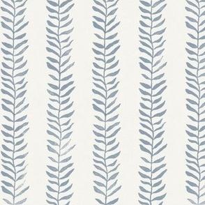 Botanical Block Print, Blue Gray on Warm White   Leaf pattern fabric from original block print, gray and cream, neutral decor, plant fabric, fresh gray.