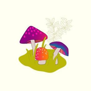 Mushroom Vignette Embroidery Panel