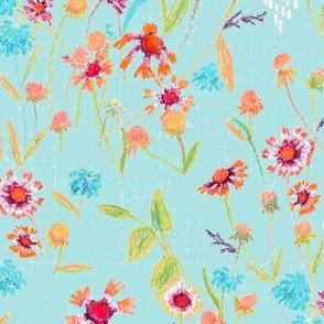 field flowers-light turqouise