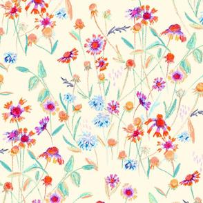 field flowers - ivory pastel
