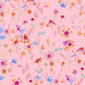 field flowers -blush pink