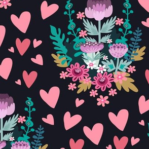 Flowers and hearts pattern 8